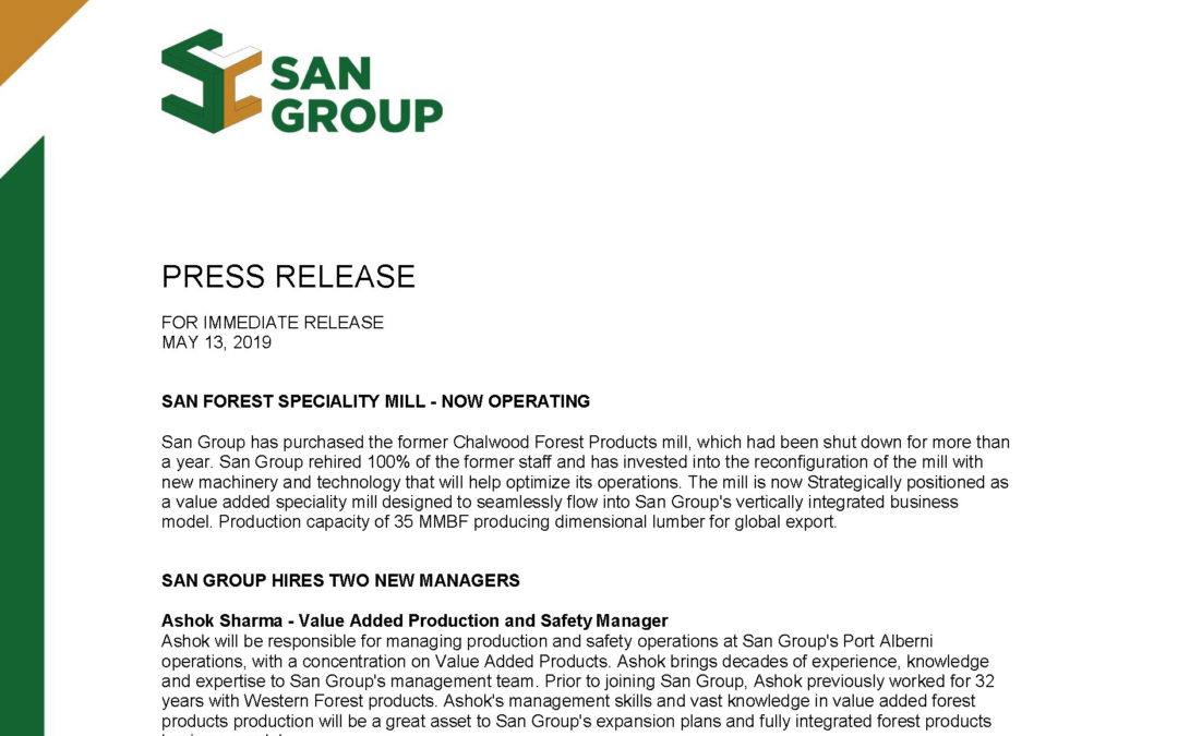 Press Release – May 13, 2020